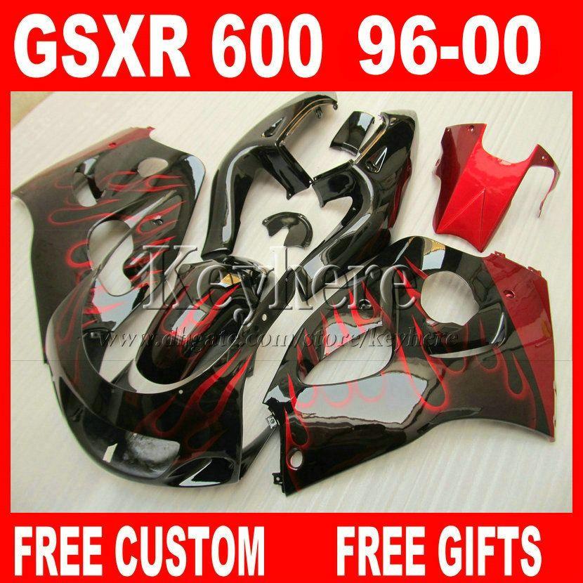 Personalizar pintura Kit de carenado para SUZUKI SRAD GSXR600 96 97 98 99 00 GSXR750 carenados llamas rojas gsxr 600 750 1996 1997 1998 1999 2000 5M6G