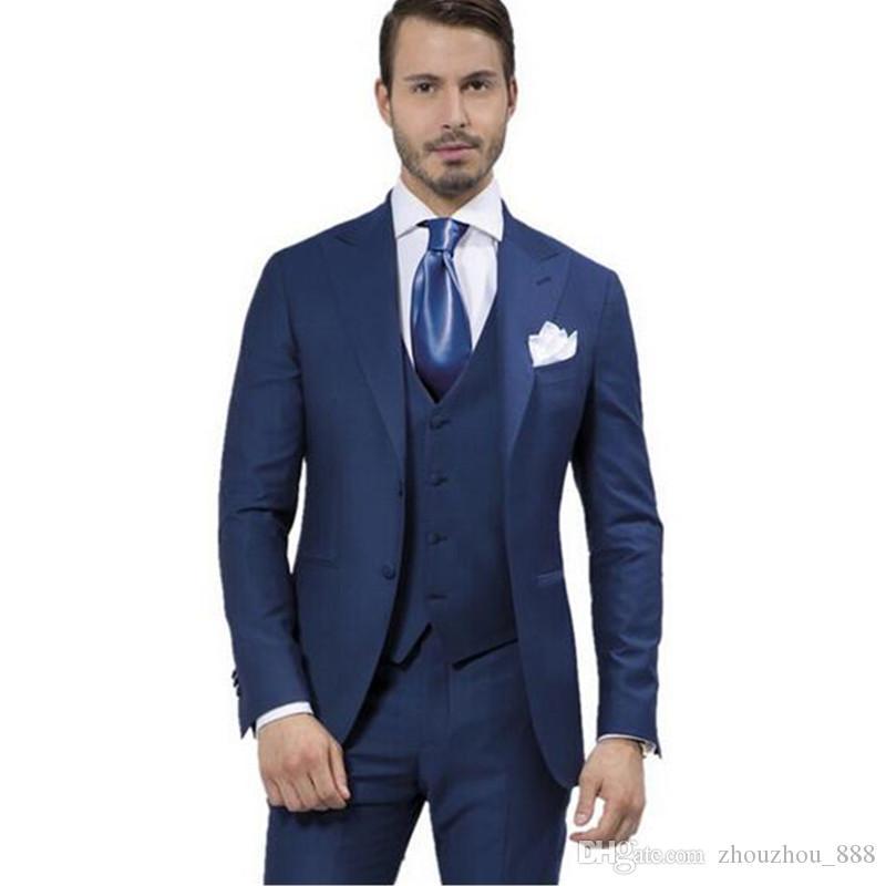 Compre Traje De Hombre Hecho Traje Azul Oscuro c6532f1b3389