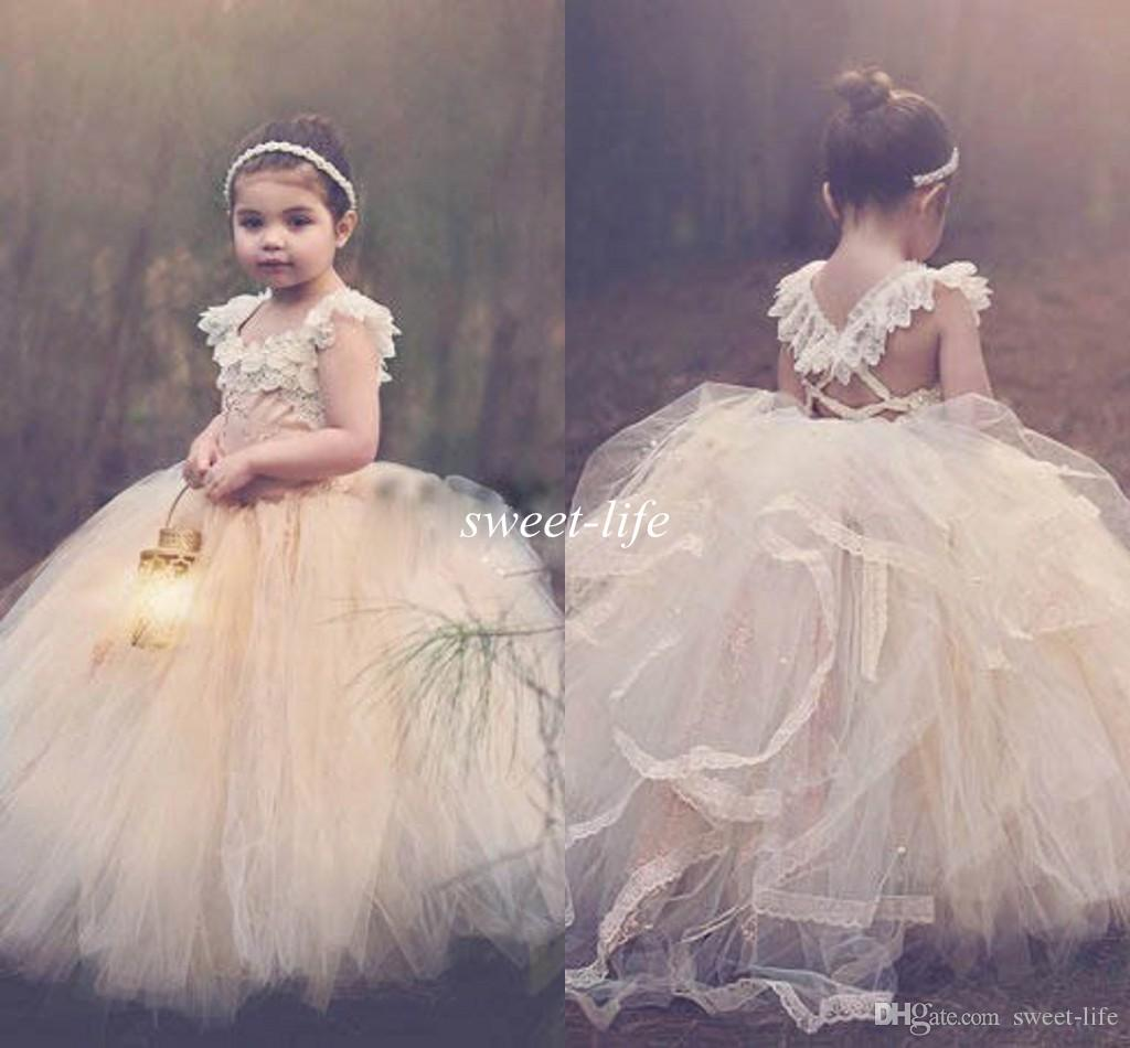 1dc733a78eb 2015 Ball Gown Lace Flower Girls Dresses Champagne Tutu Cheap Strapless Cap  Sleeve Cross Back Puffy Little Girls Kid First Communion Dresses Children  ...