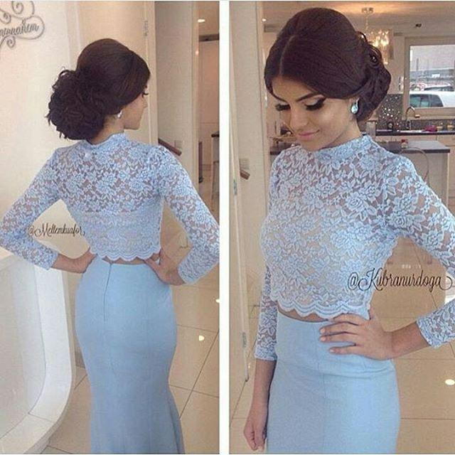 Evening dress lace white crop