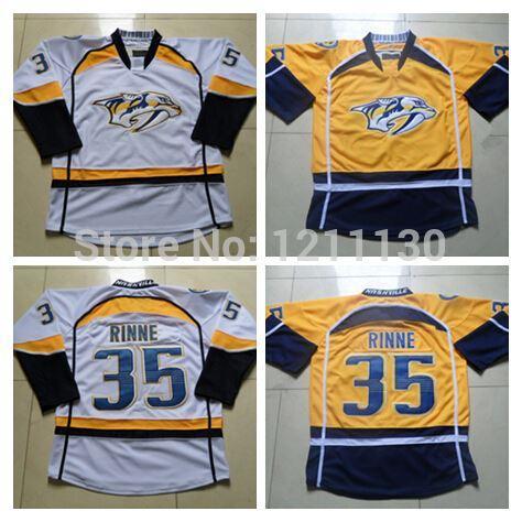 big sale f8e6c 4a094 2014 Wholesale Nashville Predators Pekka Rinne Jersey #35 Team Color Yellow  White Nashville Predators Ice Hockey Jerseys
