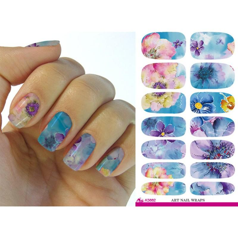 Fashion Water Transfer Nail Foil Sticker Art Painting Chinese Ink ...