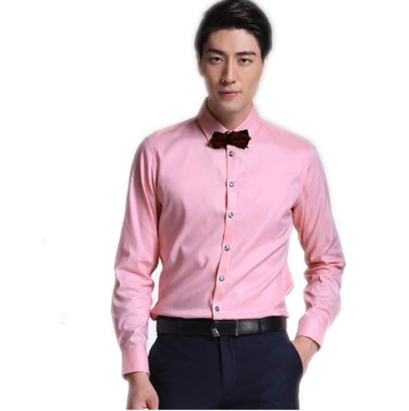 Compre Camisas Ropa De Manga Larga De Color Puro Negocio Camisa Rosa ...