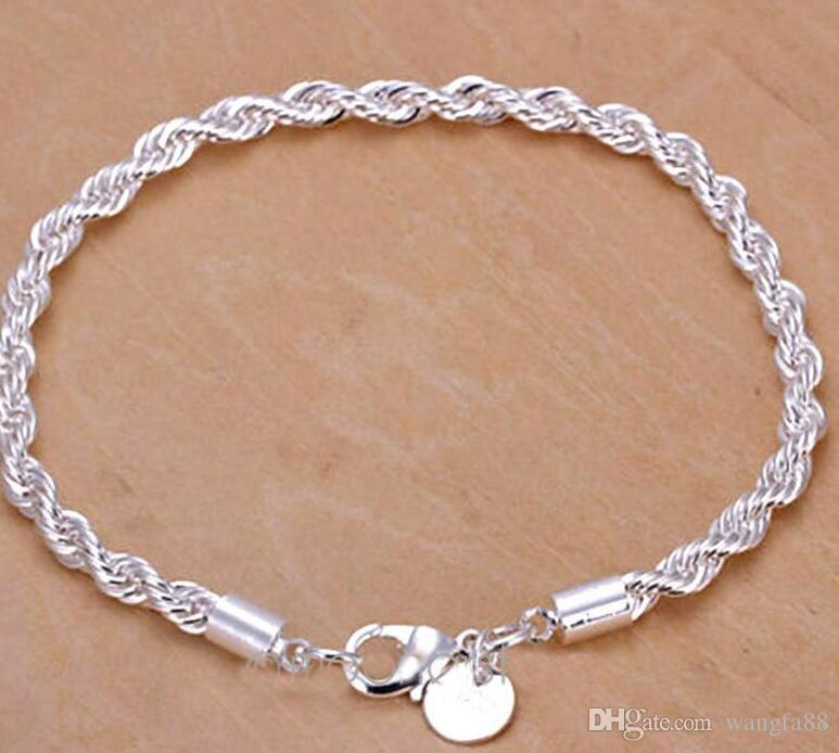 2016 Girls Ladies Fashion Jewelry Bracelet Charm 925 Sterling Silver Women Twisted Rope Hand Chain Wristband Stylish MHM341