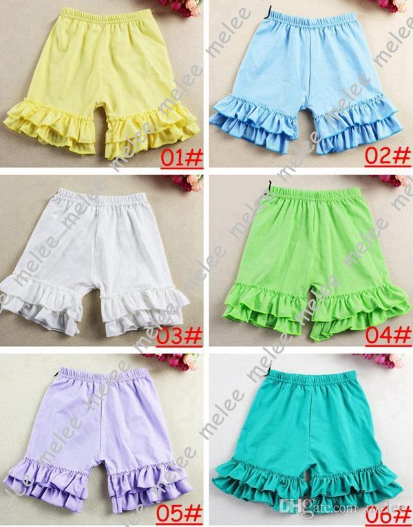 2015 nuevo 100% algodón Baby Girls pantalones cortos con volantes Verano pantalones cortos para niños pantalones cortos para niñas 1-8T