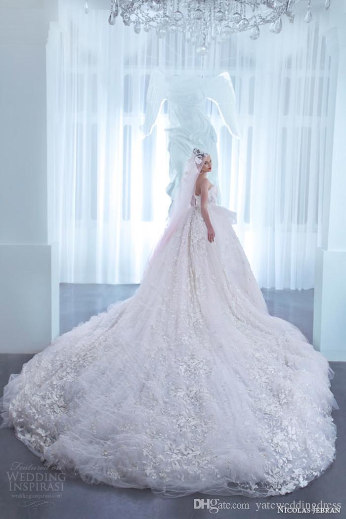 Luxury Ball Gown Wedding Dresses Off The Shoulder Nicolas Jebran 2015 Spring Flower Bridal Gowns Church Train Custom Made Wedding Dress