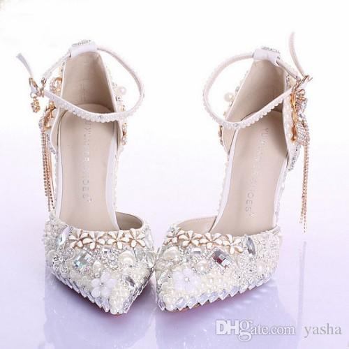 8b4442929de ivory crystal rhinestone pointed toe bridal shoes sexy wedding shoes prom  heels pumps 9cm high heel