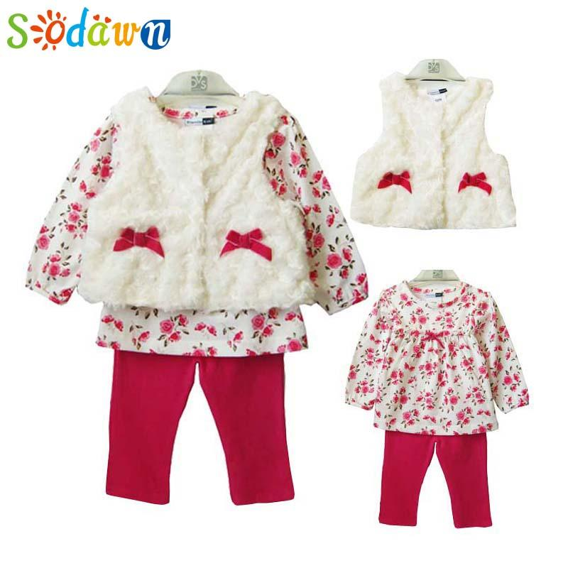 cb799aaf5 Wholesale- Sodawn New Baby Girls Clothing Set For Winter Long Sleeve ...