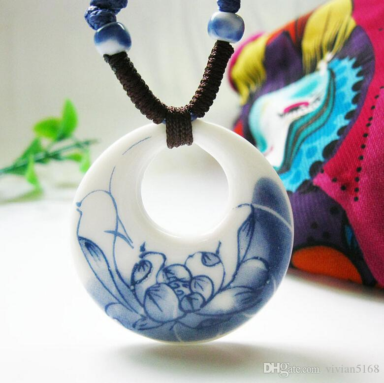 Fashion Jewelry White And Blue Porcelain Ceramic Necklace For Women Floral Chinese Art Handmade Ethnic Necklace Factory price +Fast shipment