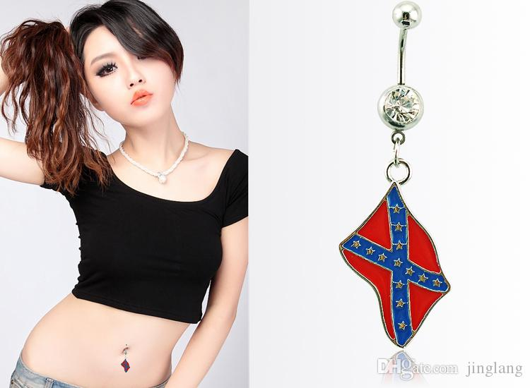 Fashion Belly Button Rings Dangle 316L Stainless Steel National Flag Navel Body Piercing Jewelry