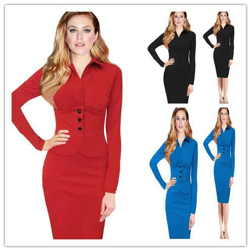 027bcd81e47 Autumn European And American Office Dresses for Women Hot New Fashion OL  Work Wear Elegant Quality Business Ladies Dress Business Ladies Dress  Online with ...