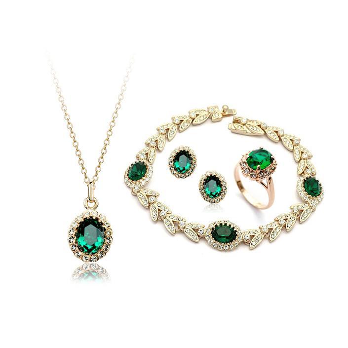 Drop Shipping, En Kaliteli Zümrüt kolye + küpe + yüzük + bilezik 18 K altın kaplama kristal Takı setleri, marka kuyumcu setleri toptan hediye