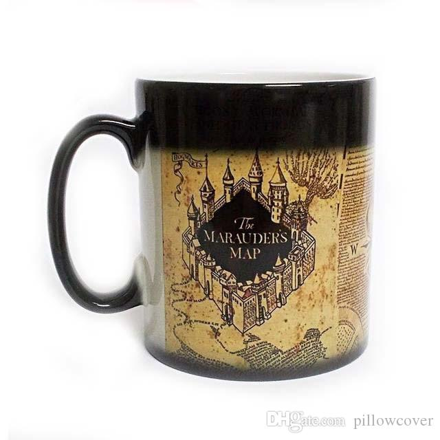Harry Marauders Map Hot Cold Temperature Sensitive Coffee Tea Milk Mug Cup With GIFT BOX Potter Fans Gift Drop Shipping