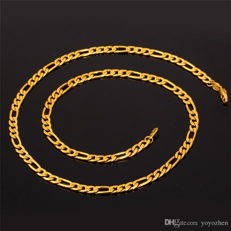 18K Real Vergulde Figaro Ketting Kettingen voor Mannen Hoge Kwaliteit Roestvrijstalen Heren Gouden Ketting
