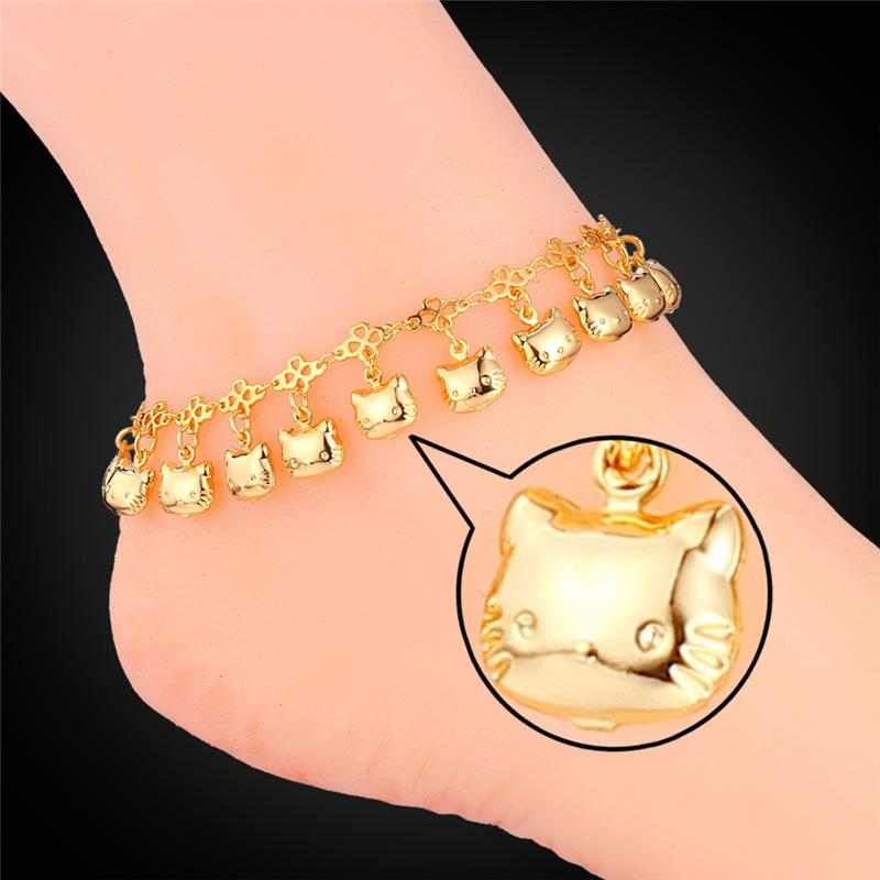 Women Ankle Chains 18K Real Gold/Platinum Plated Lovely Cats Charms Sandal jewelry for Girls Anklets Bracelets
