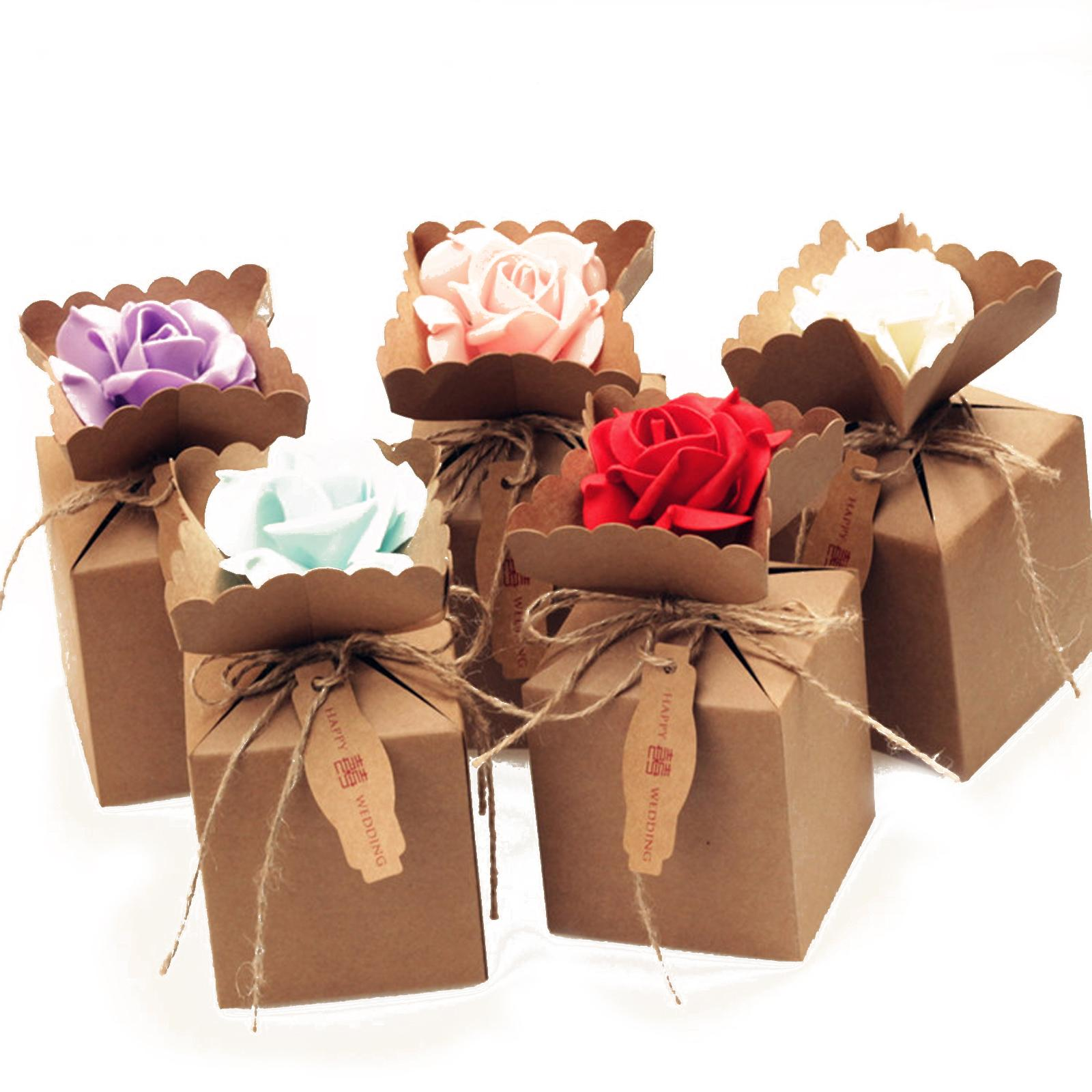 Creative Kraft Diy Vintage Paper Candy Boxes Gift Bag With Rose Flower Chocolate Packaging Party Wedding Decoration Favors Bridal Shower Favor Cake