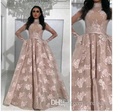 2018 Arabic Ball Gown Prom Dresses High Neck Long Sleeves Appliqued Nude Evening Gowns with Belts Sheer Pageant Dresses