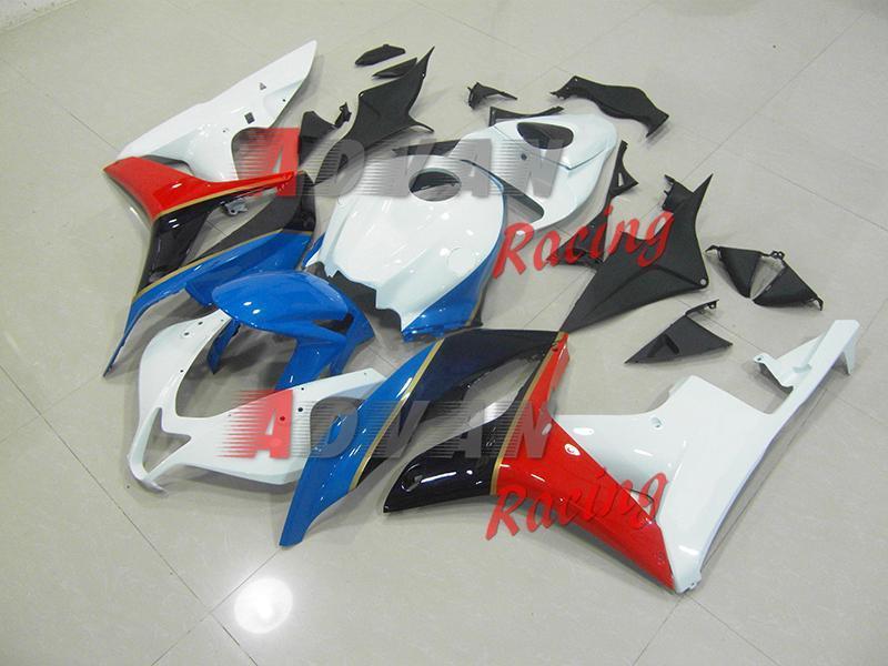 NEW 2014 White Blue INJECTION Fairing Bodywork Kit Set Fit CBR600RR 2007-2008 A009