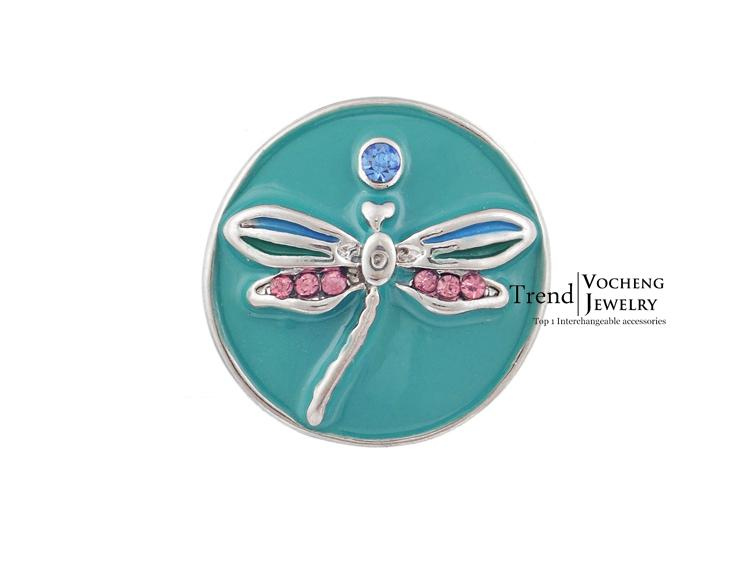 Vocheng Noosa DIY Jewelry Accessory Fashion Red Dragonfly Chunk Snap Button Vn-200