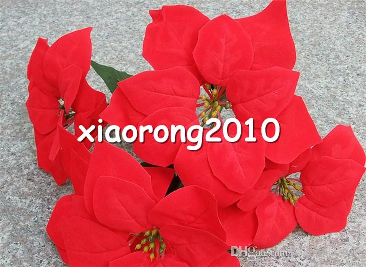 """Red Poinsettia Flower Bunch 5 heads/piece 45cm/17.72"""" Artificial Flowers RED Christmas Flower for Wedding Cneterpiece"""