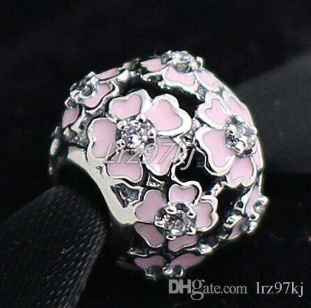 2015 100% Temizle Cz ve Pembe Emaye ile 925 Ayar Gümüş Primrose Charm Boncuk Avrupa Pandora Takı Bilezikler Kolye Kolye Uyar