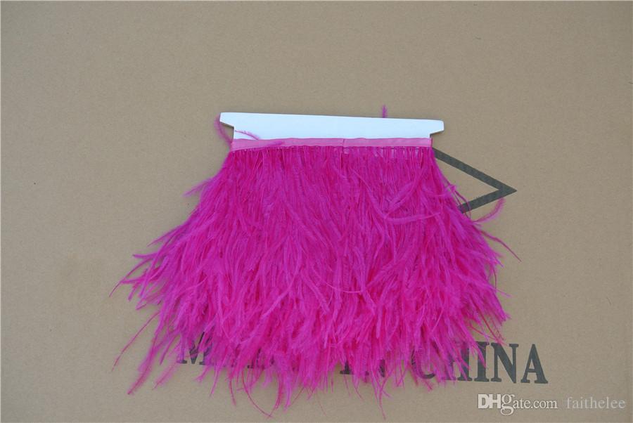 Livraison gratuite 10 verges / chaud rose autruche plume frange de coupe sur Satin Header 12-15 cm de largeur pour le décor de la robe pour le décor d'événement de fête
