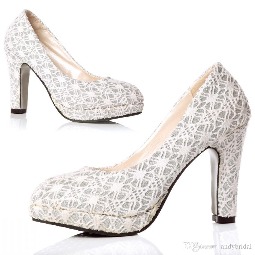 Platform Pumps With Chunky Heels Thick Soles Silver Lace Wedding ...