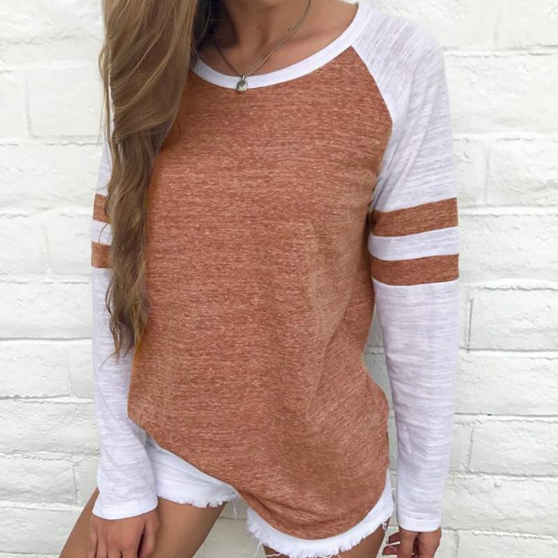 Beyzbol Çizgili T-Shirt Üst Kızlar TShirt 2017 Sonbahar Bahar Kadın O Boyun Uzun Kollu Üstleri Tee Kadın T Gömlek S-4XL Femme GV162 q171122