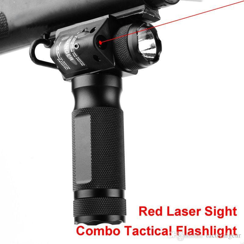 Vertical Tático Fore Grip CREE LED Caça Lanterna com Mira Laser Ponto Vermelho Integrado Para Rifle