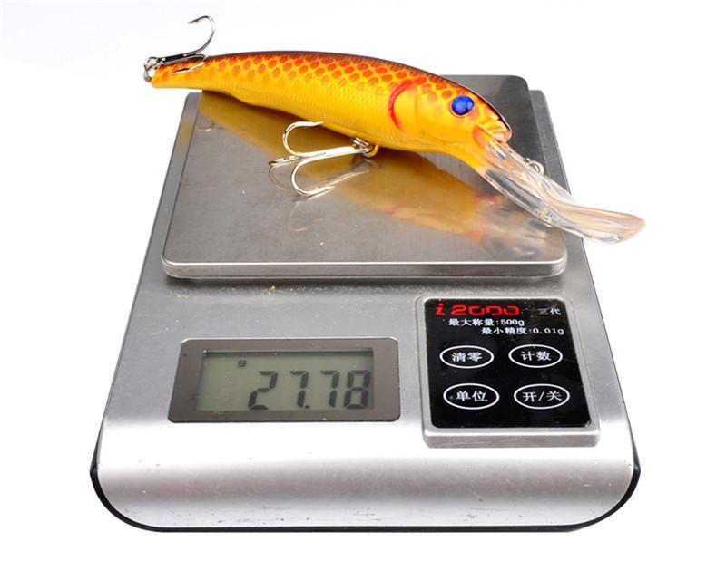 Bunte Laser Alice Mund Minnow-Fischen-Köder 28g 16.5cm Lange Zunge Bass Plastikköder Schwimmen Tiefe 1-3m