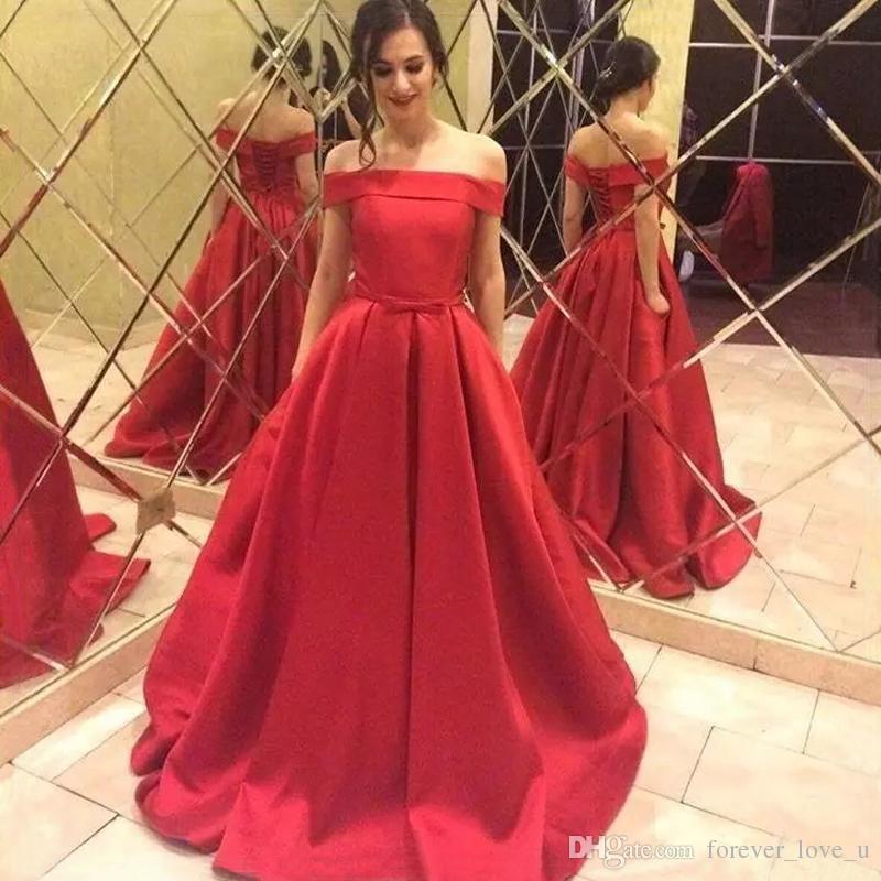 670105a0 Compre Impresionante Vestido De Baile De Fin De Curso De Una Línea Roja  Formal Largo Del Hombro Vestidos De Baile Vestidos De Noche Con Cordones  Espalda De ...