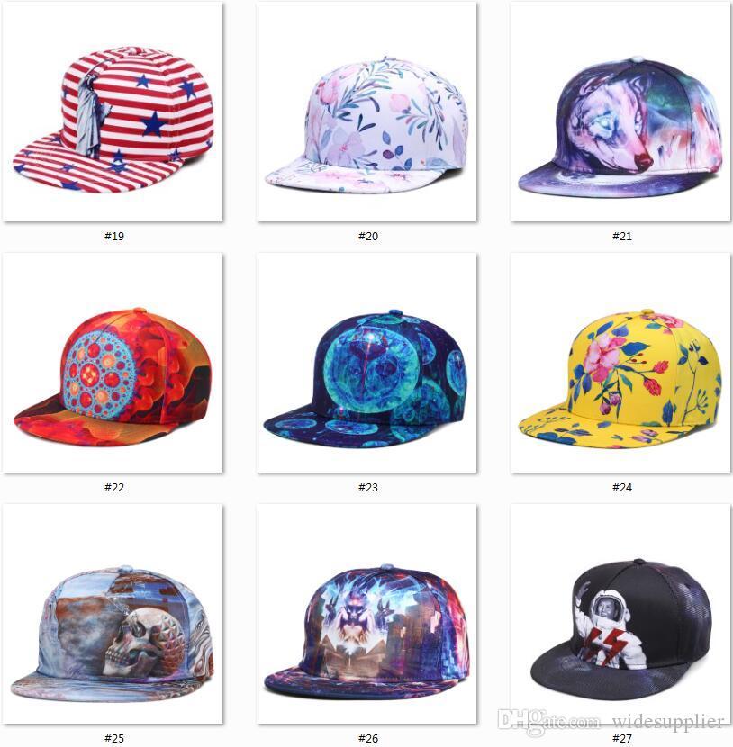 2017 beliebte Papa Hüte 3D Druck 34 Stile Basketball Baseball Hüte Hysteresen Sport Hüte Damen Herren Hip Hop Ball Caps Qualität A + + + + +