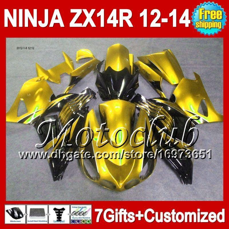 7geschenke Für KAWASAKI 12-13 NINJA ZX-14R 2012 2013 2012 2013 Gold schwarz ZX 14 R 25C218 ZX 14R ZX14R gold schwarz 12 13 12 13 ZX14 R Verkleidung