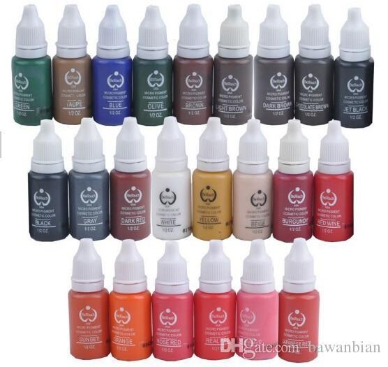 Set de tinta para tatuaje mayor-set pigmentos maquillaje permanente 15ml tinta para tatuaje de color cosmético para delineador de ojos de cejas