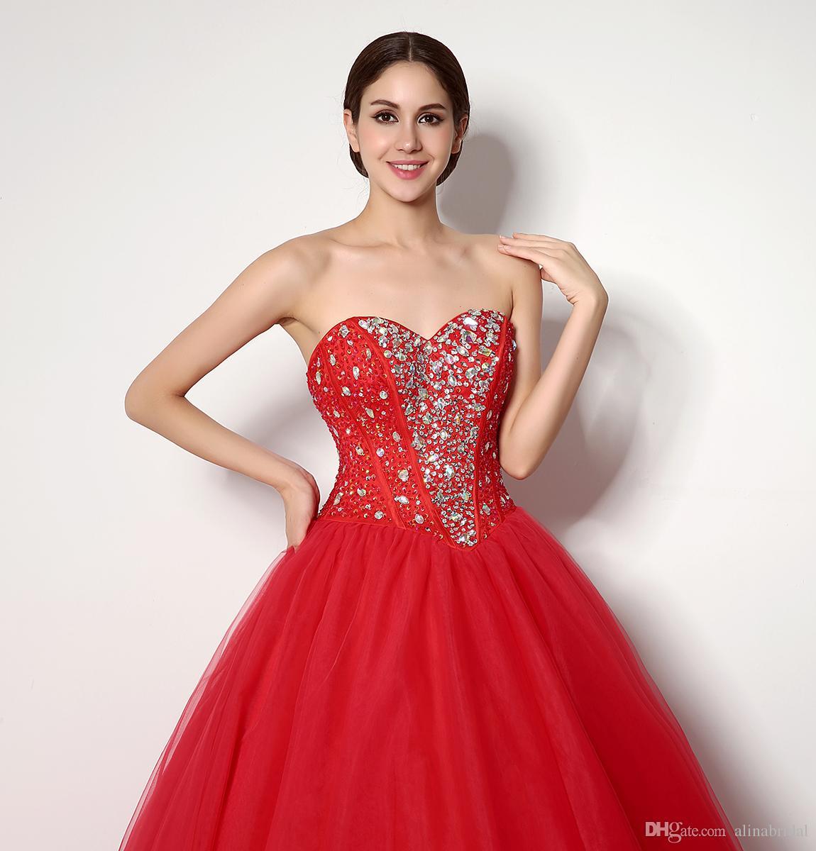 Günstige Im Lager Red Promkleider 2018 Crystals Schatz-Ballkleid-Bonbon-16 Kleid Tulle hohe Quanlity Vestidos 15 Partei-Abschlussball-Kleider