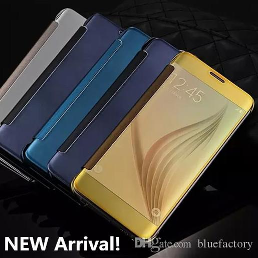 wholesale dealer 042ba a33f8 Mirror Clear View Flip Sleep Smart Case for Samsung Galaxy S9 S8 Plus Note  8 S7 edge plated Transparent Leather Plastic Shell Fashion Cover