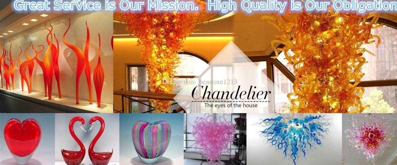 Poupança luz lustre Big Size Lustre 100% Soprado Mão Borosilicato Soprado Lustre De Vidro Azul Led Luz Decorativa