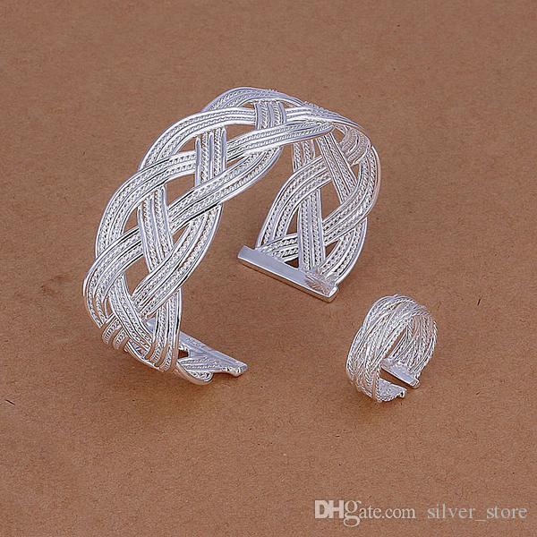 عالية الجودة 925 فضة قطعة صغيرة جديلة مجوهرات مجموعات DFMSS310 العلامة التجارية الجديدة المصنع مباشرة بيع 925 الفضة سوار الدائري