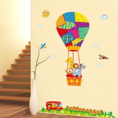 Animais dos desenhos animados para Viajar by hot-air Balão Wall Art Mural Decor Crianças Quarto Nursery Fly Dream Decoração Papel De Parede Decalque cartaz