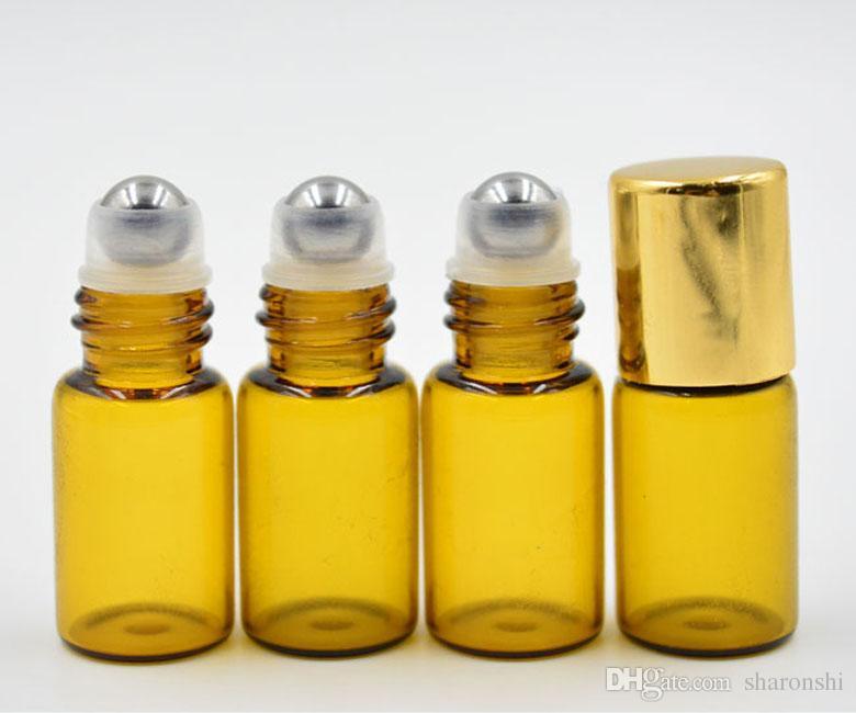 DHL./FEDEX送料無料により、エッセンシャルオイル香水瓶ステンレススチールローラーボール上の携帯用詰め替え可能な3mlのアンバーガラスロール