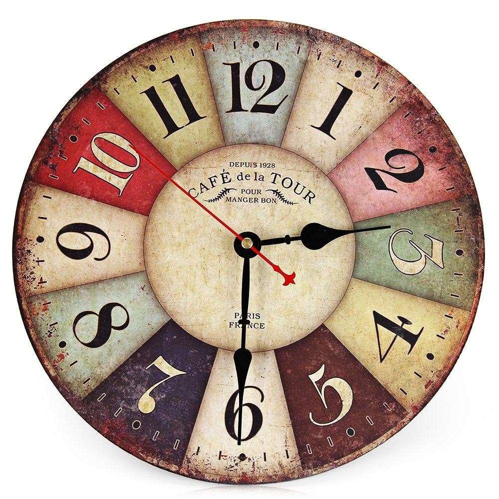9d6d37a16a8 Melhor Venda Novo Grande Relógio De Parede De Madeira Rodada Do Vintage  França Paris Colorido Francês País Estilo Toscano Relógio De Parede De  Madeira ...