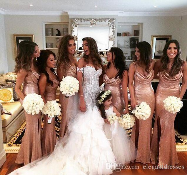 사이드 스플릿 2021 신부 들러리 드레스 인어 로즈 골드 스팽글 연인 Pleats 정장 저녁 파티 드레스 사용자 정의 만든 베르타 드레스