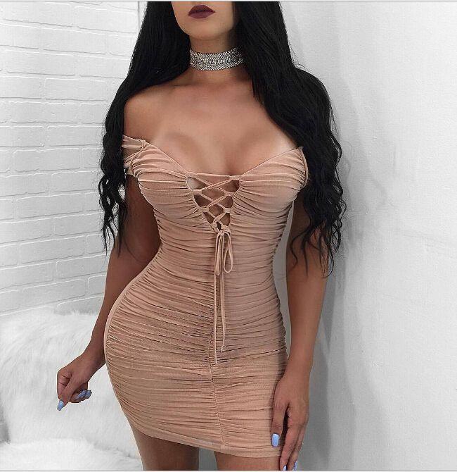 Women Sexy Bodycon Dresses V-neck Bandage Design Party Evening Dress Sheath Backless Dressing