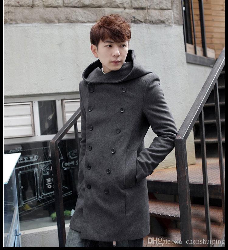 Inverno mens lunghi trincea di lana cappotto maschile con cappuccio giacca cappotto stile coreano uomo vestito caldo soprabito i più dimensioni
