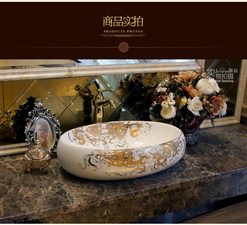 Bathroom Superior Ceramic Counter Top Sink Oval Wash Basin Porcelain Hand Painted Cloakroom Art Vessel Sinks jy-002