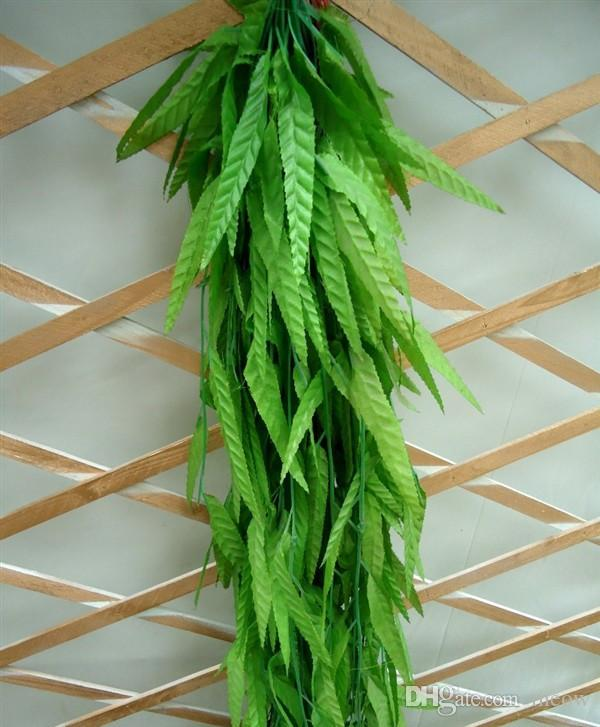 الأخضر الصفصاف الروطان الغصن الخيزران فرع ليف محاكاة يترك فاين شنقا الديكور المنزل الزهور الاصطناعية 180 سنتيمتر 20 قطع إجازة