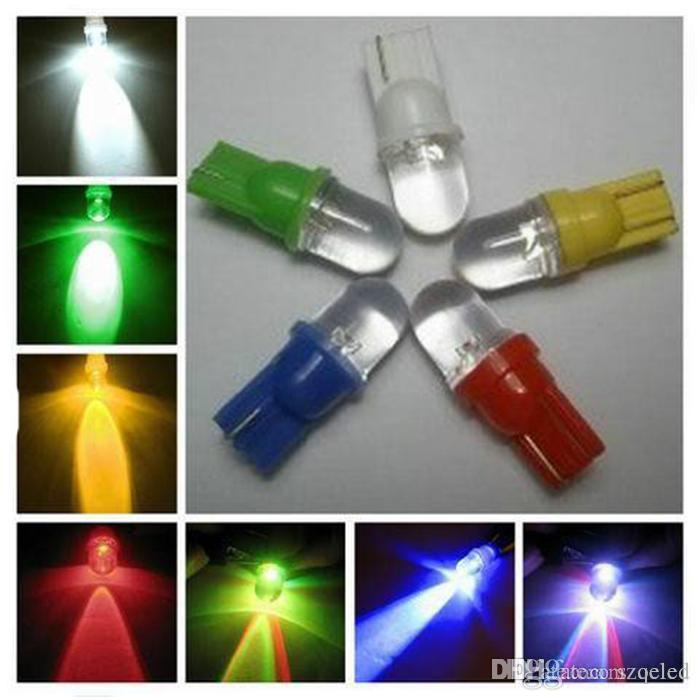 Car styling round LED light 194 W5W T10 1 led Indicator light White Red Green Blue Yellow Auto Wedge Base for Dashboard Bulb
