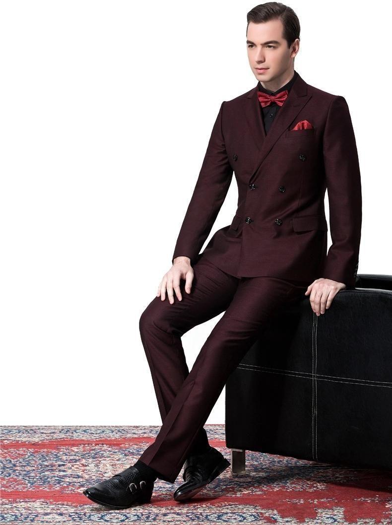 Side Vent Double-Breasted Burgundy Groom Tuxedos Peak Lapel Groomsmen Mens Wedding Suits Clothing Prom Suits Jacket+Pants+Tie