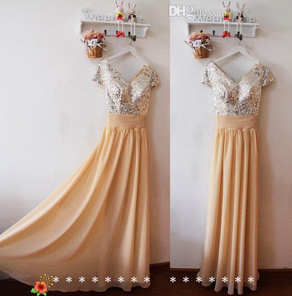 Modest Elegancki Czapka Rękaw Suknie Druhna Złote Cekiny Nevenin Dress Długa Szyfonowa Wedding Party Dress Sexy Prom Suknie Niestandardowe