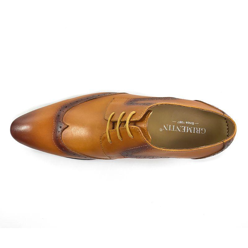 GRIMENTIN Italian brand mens oxford shoes fashion designer men dress shoes hot sale genuine leather formal business wedding male shoes OM
